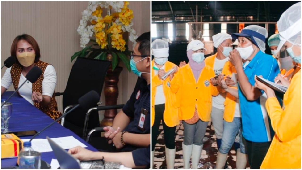 Ketua Program Studi TPHL POLNUSTAR Tahuna saat mempresentasikan di sejumlah Perusahaan Pengolahan Hasil Perikanan di Kota Bitung. (Ist)